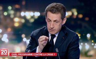 Nicolas Sarkozy lors du journal télévisé de France 2, le 22 février 2012.