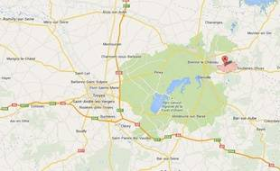 Capture d'écran Google map de Morvilliers, dans l'Aube.