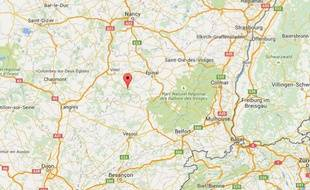 Google Map de Hennezel, dans les Vosges.