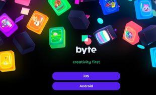 L'interface de téléchargement de l'application Byte
