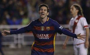 Lionel Messi fête son but contre le Rayo Vallecano le 3 mars 2016.