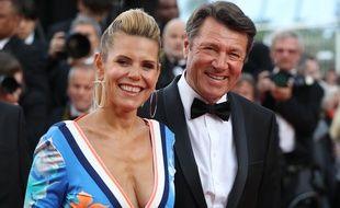 Laura Tenoudji, journaliste à «Télématin» et son époux, le maire de Nice, Christian Estrosi, à Cannes le 8 mai 2018.
