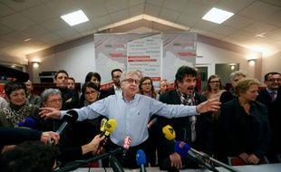 Le candidat de gauche de la région Alsace-Champagne-Ardenne-Lorraine Jean-Pierre Masseret lors d'une conférence de presse à Maizières-les-Metz, le 8 décembre 2015