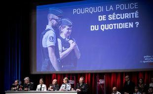 Lancement de la police de sécurité du quotidien par Gerard Collomb, Ministre de l'Interieur, le jeudi 8 fevrier 2018, a l'Ecole Militaire, Paris,