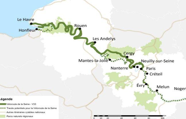 L'itinéraire vélo Paris-Le Havre pourrait faire jusqu'à 430 km.