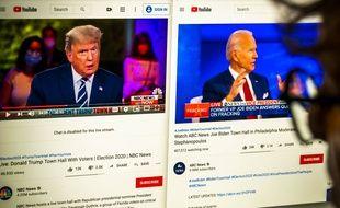 Des images de Donald Trump et Joe Biden sur un ordinateur le 15 octobre 2020.