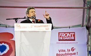 Jean-Luc Mélenchon, lors de sa prise de parole le 18 mars 2012 à Bastille.