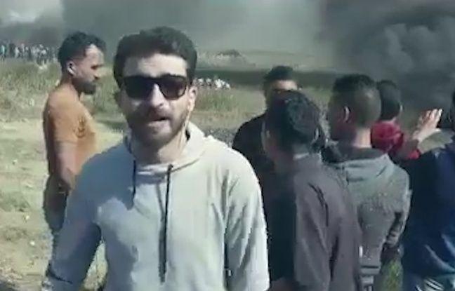 Ibrahim Ghunaim dans son clip tourné à la frontière israélienne, en mars 2018.