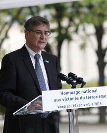 Guillaume Denoix de Saint-Marc, fils d'une victime de l'attentat du DC10 d'UTA en 1989 et président de l'Association of Victims of Terrorism (AFVT) lors de la cérémonie d'hommage aux victimes du terrorisme, le 19 septembre 2014, aux Invalides à Paris.