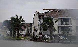 Le Fulton Beach Resort après le passage de l'ouragan Harvey, à Rockport, au Texas, le 26 août 2017.