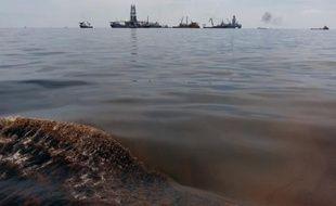 Du pétrole de la marée noire dans le Golfe du Mexique, mercredi 19 mai 2010.