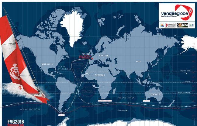 Le parcours du Vendée Globe passe par les mers du Sud.