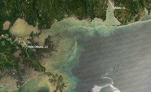 Vue satellite de la nappe de pétrole qui menace les côtes de la Louisiane, le 28 avril 2010