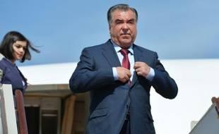Le président du Tadjikistan Emomali Rakhmon, le 8 mai 2015 à Moscou