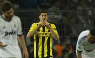 L'attaquant du Borussia Dortmund Robert Lewandowski, lors de la demi-finale aller contre le Real Madrid, le 24 avril 2013, dans la Ruhr.