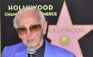 Charles Aznavour le 24 août 2017, lors de l'inauguration de son étoile sur le «Walk of Fame», à Los Angeles.