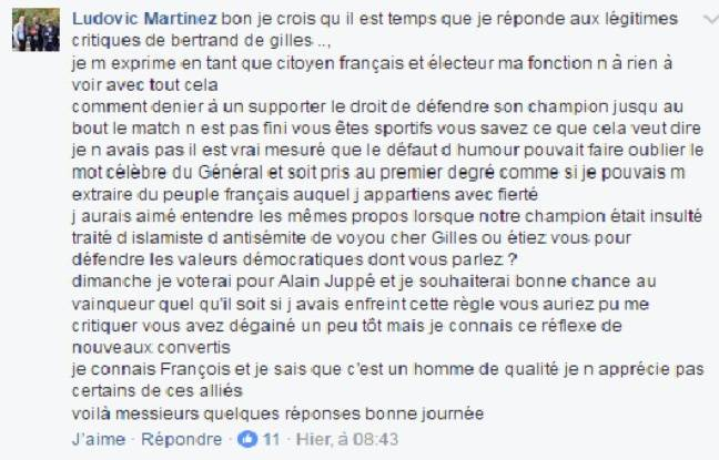 Ludovic Martinez a d'abord assumé ses propos avant de s'en excuser.