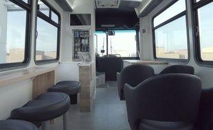 Capture d'écran d'une vidéo de Leap, le nouveau bus ultra-luxe de San Francisco.
