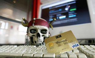Illustration du piratage des cartes bleue Visa et autres sur internet.