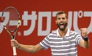 Benoit Paire jubile après sa victoire sur Kei Nishikori en demi-finale du tournoi de Tokyo, le 10 octobre 2015.