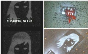 Les premiers visages de femmes tuées par leurs compagnons, peints dans le 12e arrondissement de Paris.