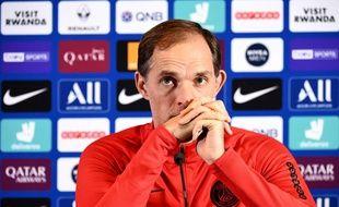 Thomas Tuchel en conférence de presse à la veille de Lyon-PSG.
