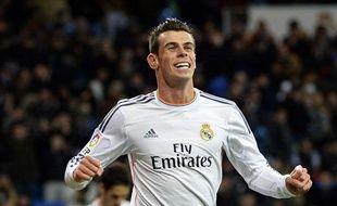 Gareth Bale, l'attaquant du Real Madrid, le 30 novembre 2013 après un but contre Valladolid, au stade Santiago-Bernabeu.