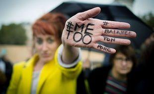 Une manifestation contre les violences faites aux femmes, Place de la République le 29/10/2017. Credit:CHAMUSSY/SIPA.