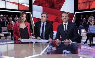 Léa Salamé, David Pujadas et Emmanuel Macron jeudi soir dans «L'émission politique».