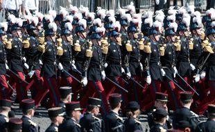Défilé des élèves de l'école militaire de Saint-Cyr, le 14 juillet 2017.