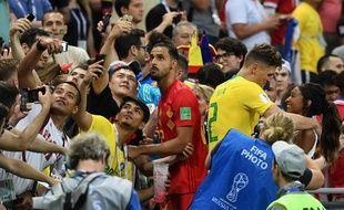 Nacer Chadli après la victoire contre le Brésil en quart de finale de la Coupe du monde.