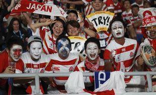 Des supporteurs japonais lors du match de leur sélection contre l'Ecosse en Coupe du monde, le 13 octobre 2019 à Yokohama.
