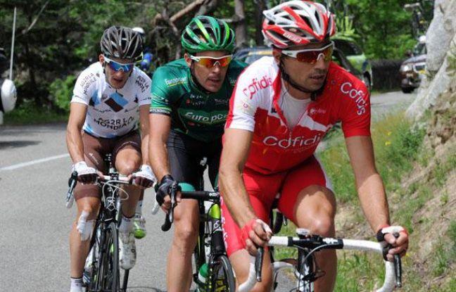 Le Français David Moncoutié mène le groupe d'échappés le 4 juillet 2012 lors de la 4e étape du Tour de France reliant Abbeville à Rouen.