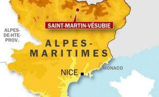 Carte de localisation de Saint-Martin-Vésubie où trois personnes ont trouvé la mort, dimanche 21 juin, au cours d'un raid sportif.