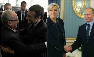 Emmanuel Macron accueilli à Alger par le ministre des Affaires étrangères algérien le 13 février 2017. Marine Le Pen accueillie à Moscou par Vladimir Poutine, le 24 mars 2017.