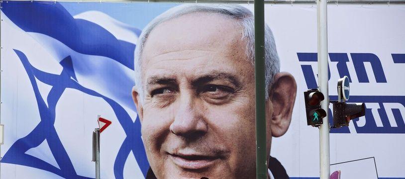 Une affiche électorale pour Benjamin Netanyahu, le Premier ministre israélien sortant, lors des législatives de 2019.