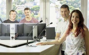 Laurent Brochet (à g.) et une partie de son équipe dans leur nouveau studio au Cannet