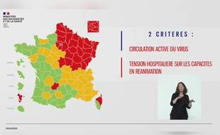 Carte de synthèse sur la situation du coronavirus en France au 30 avril (circulation du virus et charge des services de réanimation).