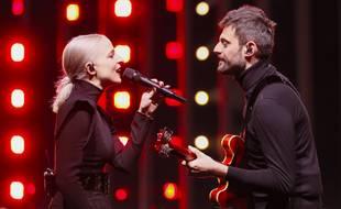 Le duo Madame Monsieur (Emilie Satt et Jean-Karl Lucas) lors de leur première répétition de l'Eurovision à l'Altice Arena de Lisbonne, le 4 mai 2018.