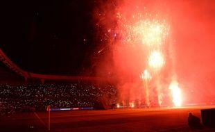 Le feu d'artifice tiré au Parc des Princes pour le titre 2014.
