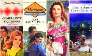 Compilation de couvertures de romans Harlequin historiques