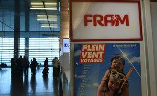 Une publicité pour le voyagiste Fram le 22 octobre 2015 à l'aéroport de Toulouse-Blagnac