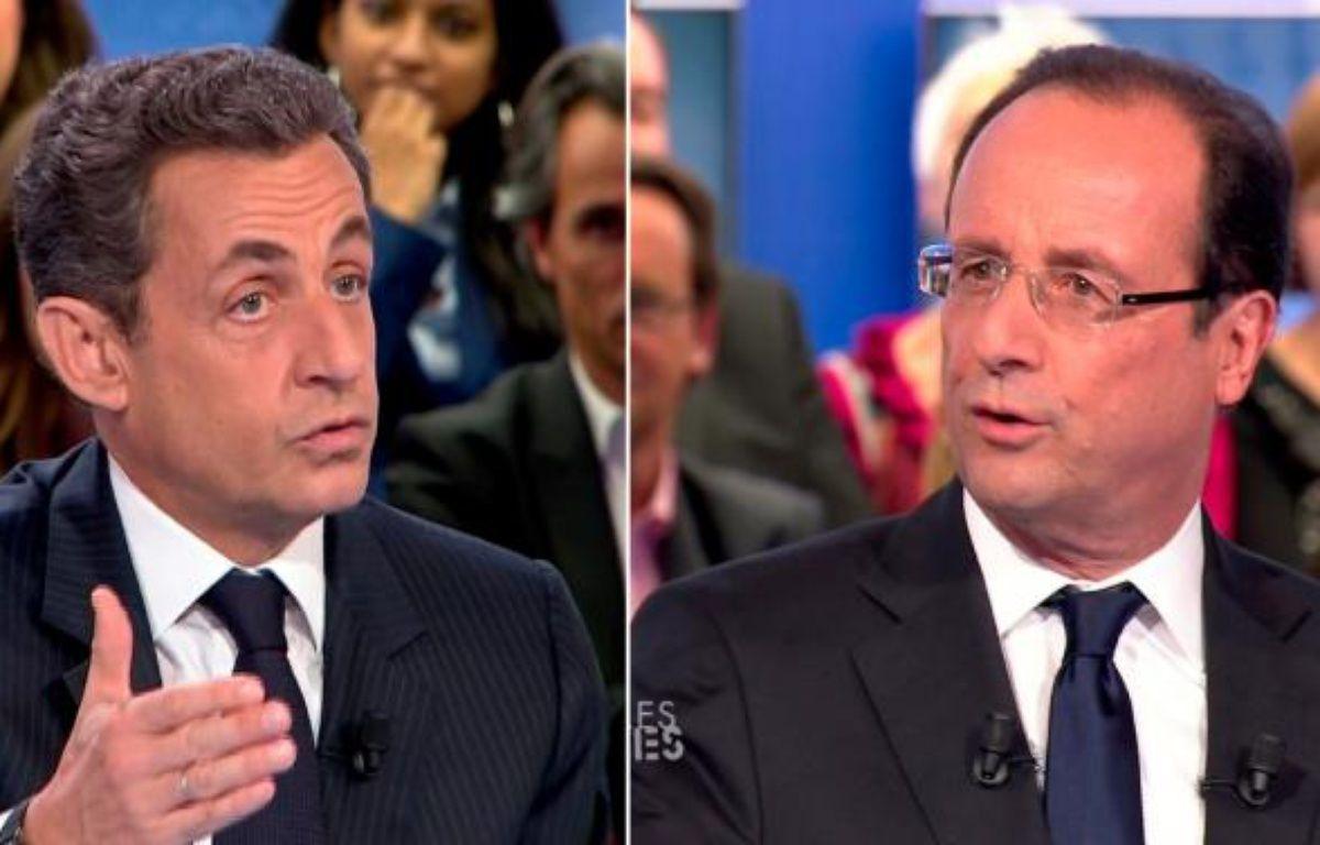 Nicolas Sarkozy et François Hollande dans l'émission «Des paroles et des actes», sur France 2, le 26 avril 2012. – PHOTOMONTAGE/REUTERS/20MINUTES