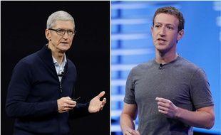 Tim Cook, CEO dApple, et Mark Zuckerberg, CEO de Facebook, en 2016