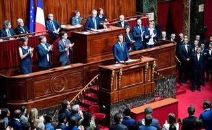 Le Président français Emmanuel Macron, devant le Congrès./ AFP PHOTO / Martin BUREAU