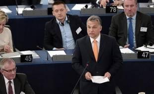 Viktor Orban, Premier ministre hongrois, s'exprime devant le Parlement européen à Strasbourg, le 19 mai 2015