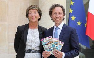 L'animateur Stéphane Bern aux côtés de la présidente de la Française des jeux, Stephane Pallez