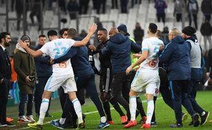 La fin de match entre l'OM et l'OL a été particulièrement houleuse, le 18 mars 2018 au Stade Vélodrome.