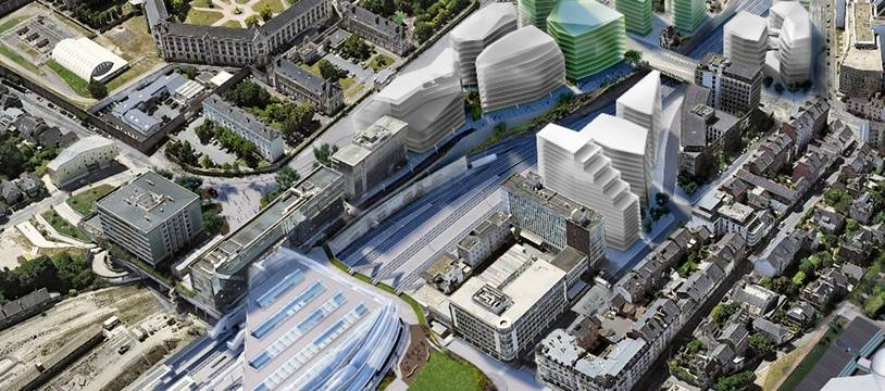 Le projet immobilier du groupe Samsic à la gare de Rennes comprend cinq bâtiments (ici en vert).
