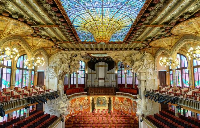 L'ornementation flamboyante du Palais de la Musique catalane.
